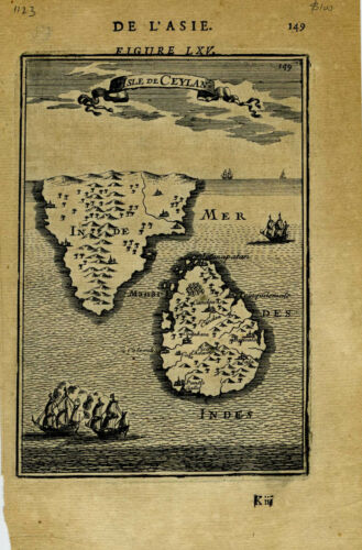 1683 Genuine Antique map Ceylon, Southern India. A.M. Mallet