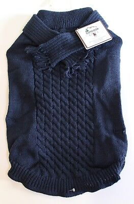 Outdoor Dog Winter Cable Knit Scarf Sweater Jacket Coat Blue Size L Cable Knit Dog Coat