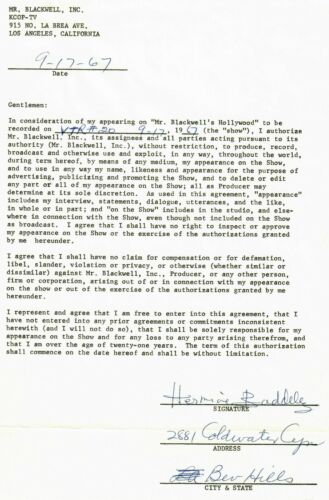 """""""Room at the Top"""" Hermione Baddeley Signed Contract Dated 1967 Todd Mueller COA"""