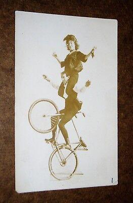 DC: RPPC Real Photo Postcard, Vaudeville Circus Bicycle Trick and Balancing Act
