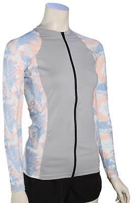 Hurley Women's Floreal LS Zip Rash Guard - Storm Pink - New