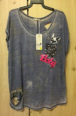 TATU Oversized Ripped Embroidered Shirt Blouse Dog Baby Boho Hippie size  L Rips Beaded Blouse