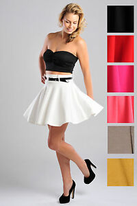 Womens-Full-Circle-Skater-Style-Plain-Short-Skirt-w-Belt-Ladies-Brand-New-UK8-14