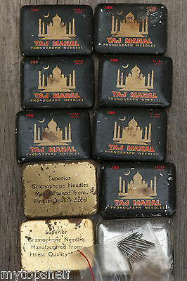 Taj Mahal Gramaphone Phonograph Vintage 1 Tin & Record Needles Old Container