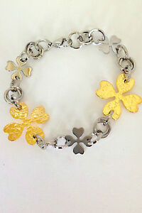 Womens-Shinny-Stainless-Steel-Gold-Plated-Four-Leaf-Clover-Links-Bracelet-8
