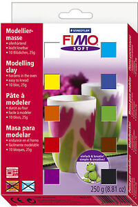 FIMO Soft Polymer Clay 10 x 25g Half Blocks Starter Set Fun Kids Modelling