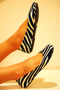 New-women-Causal-Zebra-Animal-Print-Ballet-Flats-Wedding-Comfort-Low-Heel-Shoes
