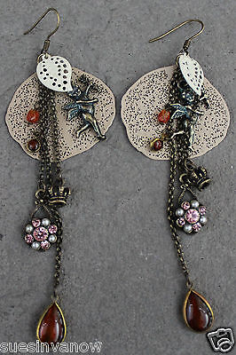 Handmade Cupid Crown Layered Vintage Style Earrings Unique Dangle Drop Accent