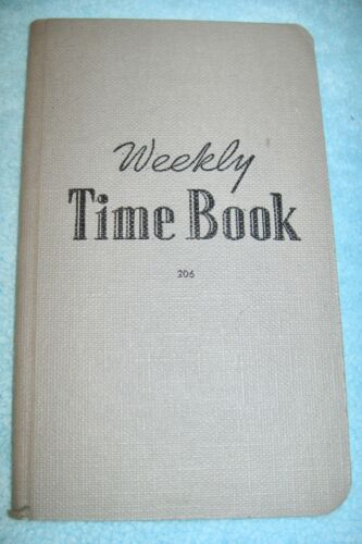 NOS Vintage WEEKLY TIME BOOK Ledger Unmarked w/ Calculated Table of Wages Hours