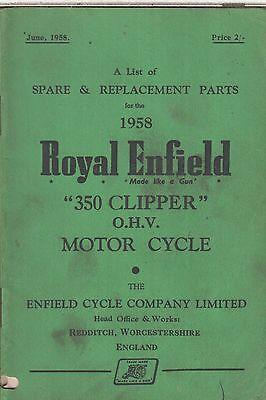 ROYAL ENFIELD 350 CLIPPER ORIGINAL 1958 FACTORY ILLUSTRATED PARTS CATALOGUE