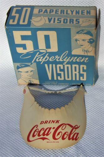 VTG 1950s COCA~COLA Sun Visors PAPERLYNEN Co NOS Coca Cola Advertising box of 50