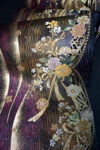"Japanese Kimono SILK Fukuro OBI, Rokutu ,Gold/Silver, Plants, Shine,L170""..2041"