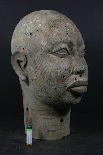 Life size African IFE BENIN Bronze ONI King Head - Nigeria, AFRICAN TRIBAL ART