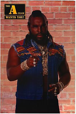 "VINTAGE TV POSTER~Mr. T 1983 The A Team Wants You Uncle Sam 28x33"" NOS Original~"