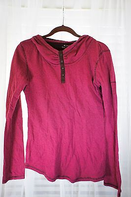 (Columbia Sportswear Pink Brown Stripe Fitness Hoodie Shirt Top Fitted Yoga Tee M)