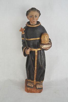 Antike Heiligenfigur Mönch mit Buch und Korb Bienenkorb geschnitzt 18/17 Jh.