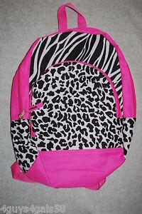 Girls Backpack 2 Compartment Padded Adjustable Straps PINK Zebra Stripe  Leopard 7052a3c6210af