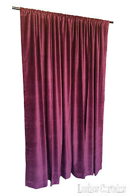 Maroon Velvet Curtain 8ft H Acoustic Noise/Soundproof Velour Drape Thermal Panel Cotton Velour Drapery Panels