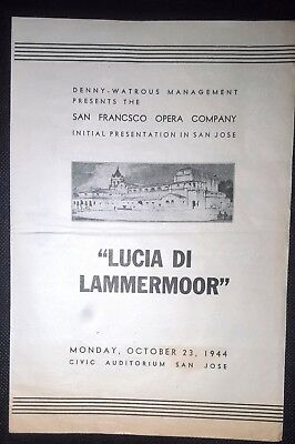 1944 LUCIA DI LAMMERMOOR Theater Program