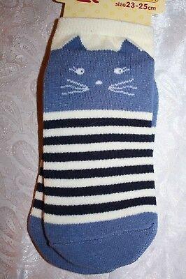 Super Süß! Socken für Damen + Mädchen aus Japan mit Katzengesicht Blau Tiger!
