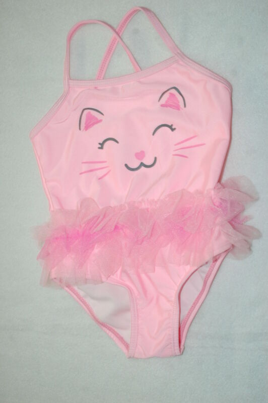 Baby Girls 1 PC SWIMSUIT Lt Pink KITTY CAT FACE Ruffles SIZE 6-9 12 18 24 MO