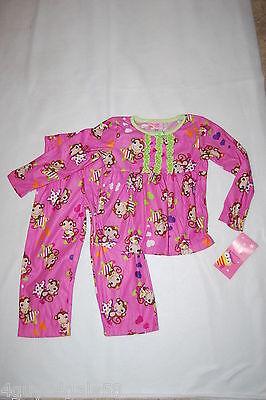 Monkey Pink Girls Pajamas - Girls Pajamas FLANNEL Two Piece Set PINK Green Ruffles MONKEYS STARS  M 7-8