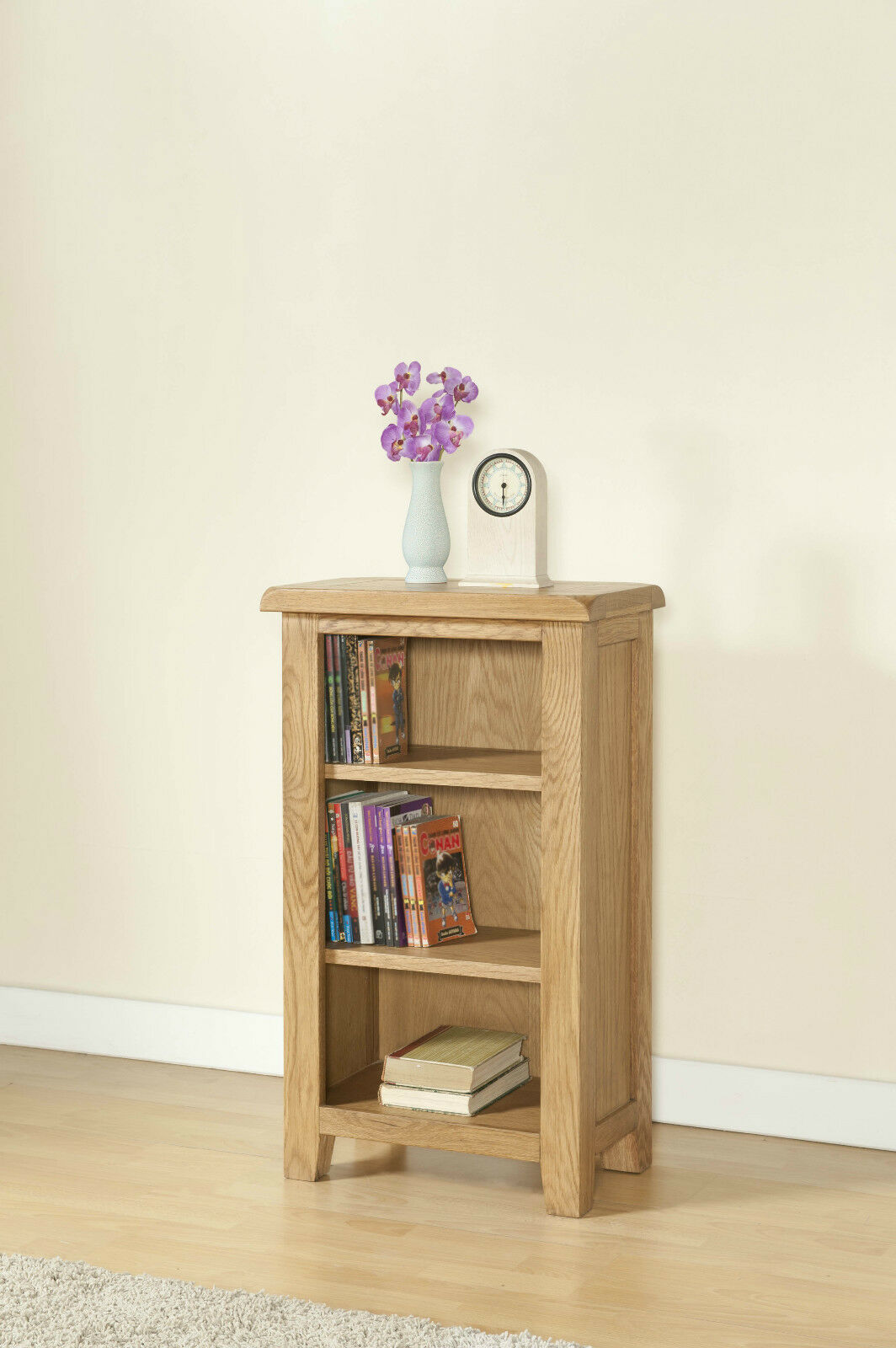 SOLID CHUNKY WOOD RUSTIC OAK SMALL NARROW BOOKCASE DISPLAY ...