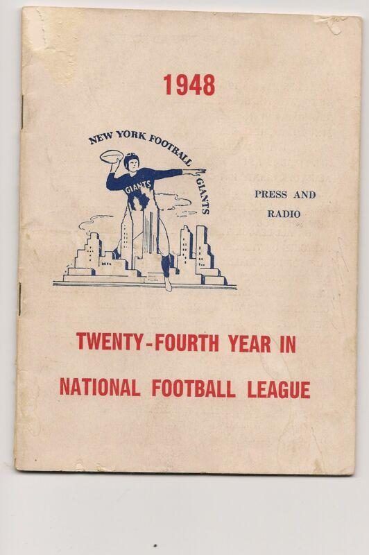 1948 New York Giants Media Guide RARE!!