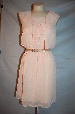 (Jr Womens PEACH CHIFFON DRESS Sleeveless V-NECK Ruffle BELTED Loose Fit L 11-13)