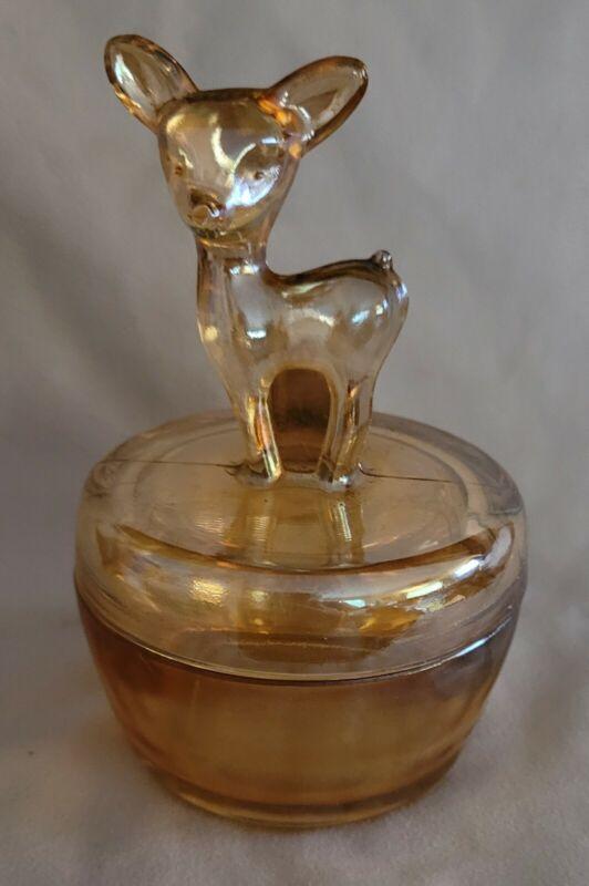 Glass Amber Trinket Box withLid - Deer Doe on Top