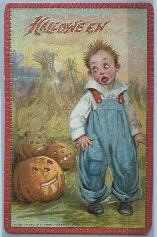 Antique Halloween 1910s Postcard Tuck's Scary Pumpkin Jack O Lantern