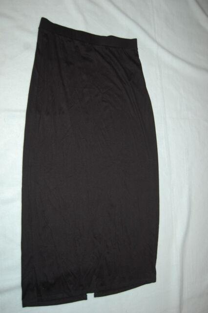 Womens Solid Black Long Maxi Skirt ELAST Waist Soft Knit Rear Slit ...