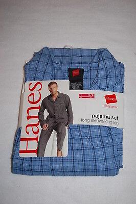 Snap Waist Pajamas (Mens L/S Woven Pajamas Set BLUE PLAID DESIGN Snap Elast Waist SIZE)