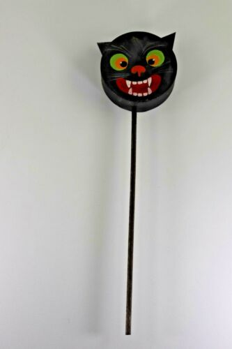 Vintage Halloween Black Cat Paper Mache Rattle on a Stick