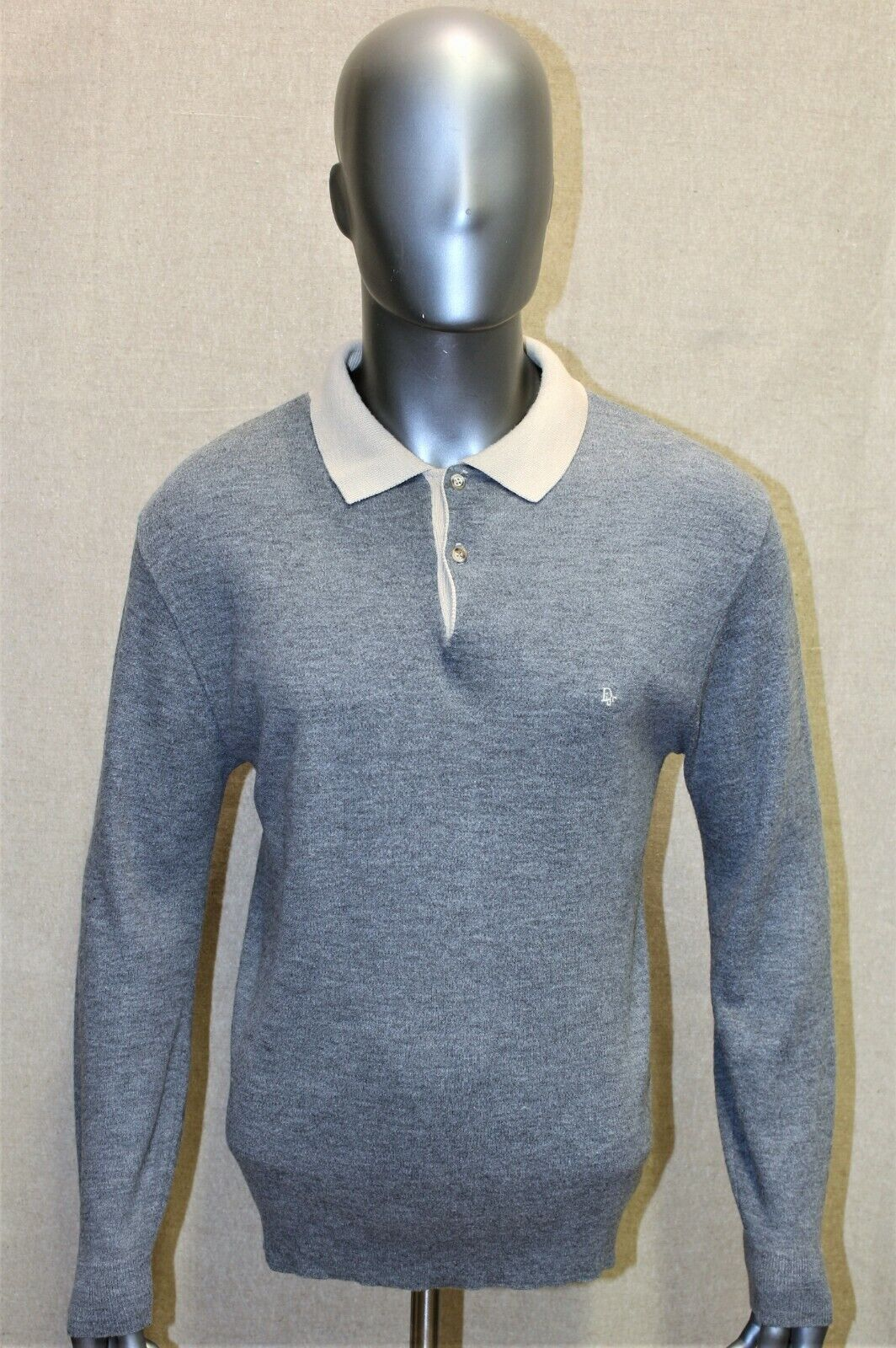 Pull col polo homme christian dior vintage 80 gris taille m us l fr made in usa