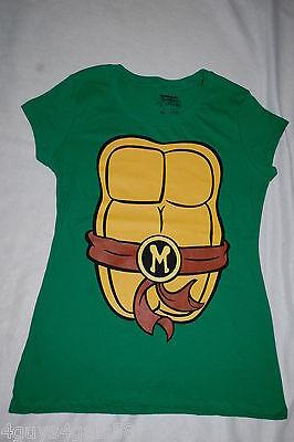 Jr Womens Tee Shirt GREEN TMNT NINJA TURTLES Cap Sleeve MIKEY Shell XL 15-17 (Womens Ninja Turtle Shirt)
