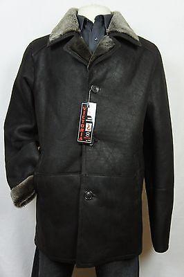 Brown 100% Sheepskin Shearling Leather Sheepskin Men Coat Jacket Trench -