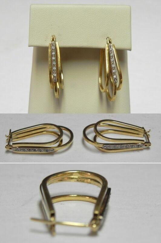 C458 Vintage 18K Solid Yellow Gold Ladies Two-Tone U Hoop Earrings