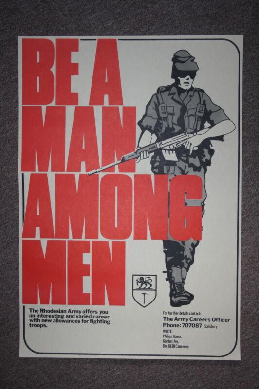 SUPER REPLICA RHODESIAN RHODESIA ARMY RECRUITING POSTER BE A MAN AMONG MEN LARGE