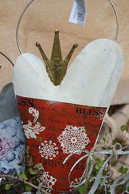 * Herz Anhänger Metall Rot Creme Weihnachten Merry Christmas Gold Krone ()
