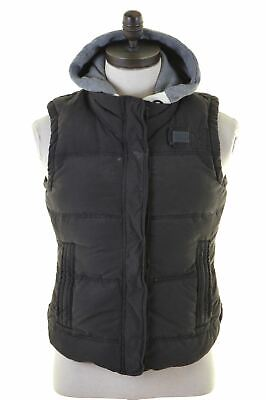SUPERDRY Womens Padded Gilet Size 16 Large Black Cotton  JN10