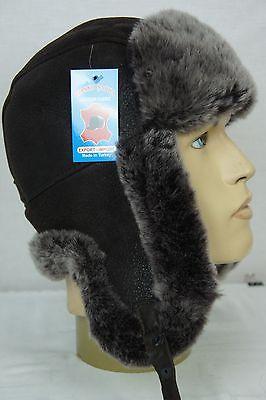 BROWN 100% Sheepskin Shearling Leather Russian Ushanka Trapper Trooper Hat M-3XL