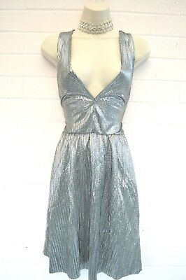 SEXY SILVER SHIMMER MINI DRESS NEW H & M 12 CHRISTMAS NEW YEAR PARTY LADY GAGA