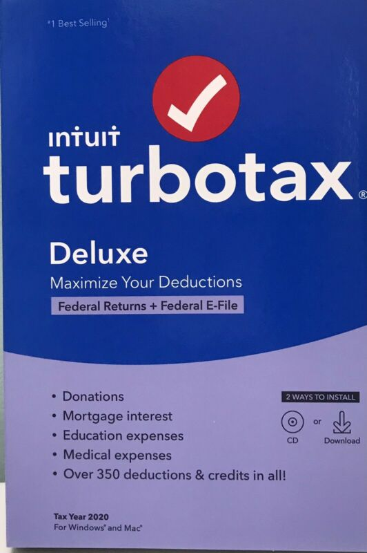 INTUIT TURBOTAX DELUXE 2020 , FEDERAL ONLY , 1 USER , DISC INSIDE, 5 FREE E-FILE