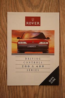 Rover 200 & 400 Series Driving Controls Leaflet Quick Guide
