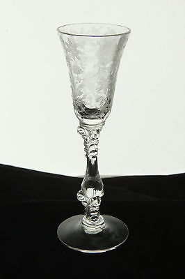 CAMBRIDGE GLASS CRYSTAL # 3121 STEM WILDFLOWER ETCH 1 OZ. ELEGANT CORDIAL