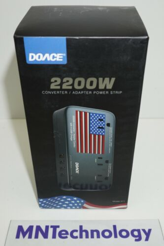 DOACE 2200W Converter / Adapter Power Strip w/ 4 USB Ports  w/ US Flag- NEW