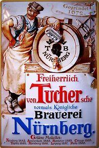 Tucher Bier Brauerei Nürnberg Blechschild Schild Blech Metal Tin Sign 20 x 30 cm