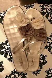 Vera Wang Floral Sandals, wedding, size 11