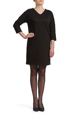 UNQ Kleid Schwarz V-Ausschnitt 3/4 Arm unifarben Knielang Viskose Etuikleider